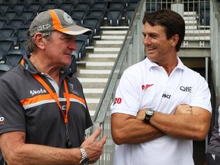 AFL - GWS Giants during training at Blacktown, Sydney. Former Swans coach Paul Roos speaks to the media with GWS Giants coach Kevin Sheedy.