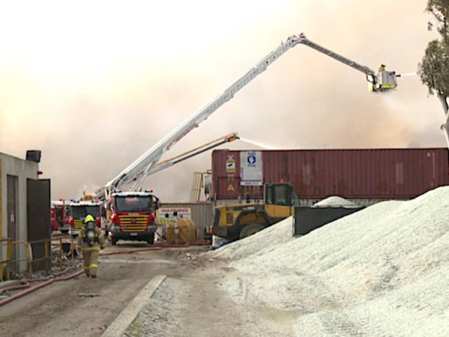Firefighters battle the Coolaroo recycling plant fire. Pictures: MFB Media