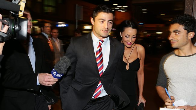 Anthony Minichiello arrives for the Roosters 2012 presentation night dinner at Easts Leagues Club Wednesday night. Picture: Brett Costello
