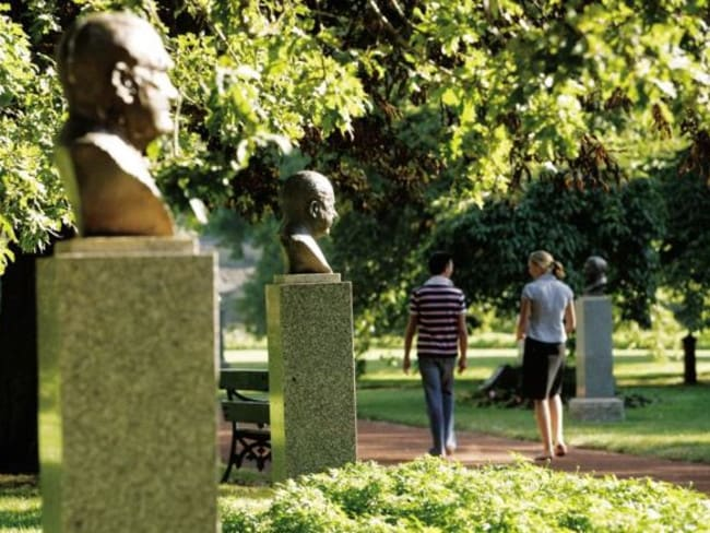The busts of Australian Prime Ministers are on display in the unique Ballarat Botanical Gardens.