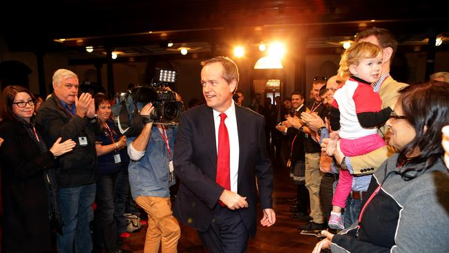 Labor leader Bill Shorten enters the NSW Labor State Conference at Sydney Town Hall yesterday. Picture: Stephen Cooper