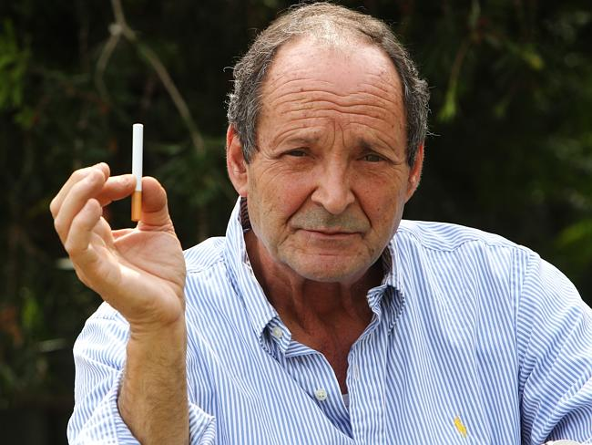 Anthony Campo, 67, displays his electronic cigarette.