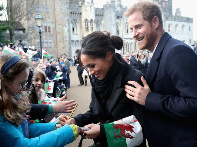 Prince Harry introduced Meghan Markle to his former nanny while the couple were in Cardiff last week. Picture: Chris Jackson/Getty Images