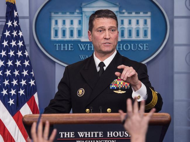 White House physician Rear Admiral Ronny Jackson speaks at the press briefing at the White House in Washington, DC, on January 16, 2018. / AFP PHOTO / NICHOLAS KAMM
