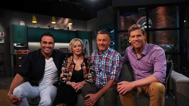 Barry Du Bois and Amanda Keller with The Living Room co-hosts Miguel Maestre and Chris Brown. Picture: Phil Hillyard