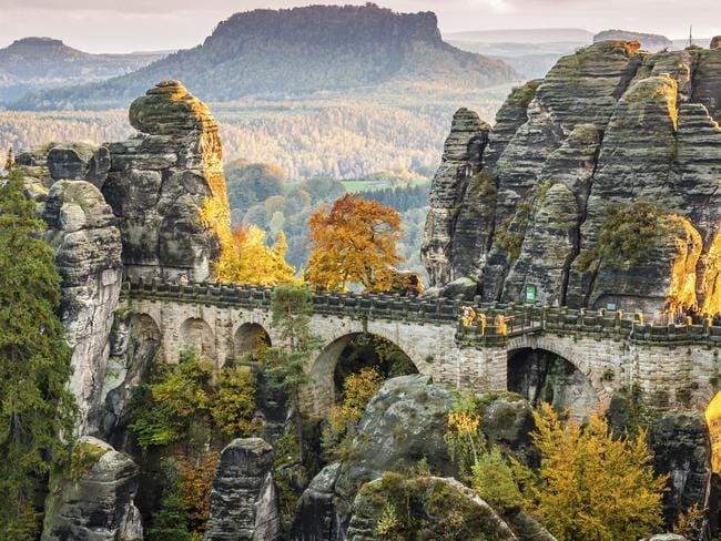 Bastei bridge is camouflaged with the rock face.