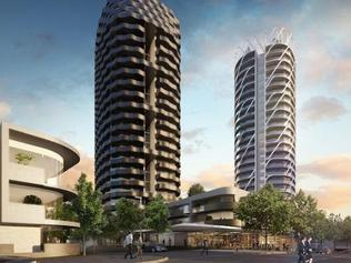 Artist images of early plans for apartment developments at Flemington Racecourse by Chinese developer Greenland