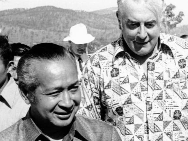 Then Australian Prime Minister Gough Whitlam and Indonesian President Suharto pictured together in 1975.