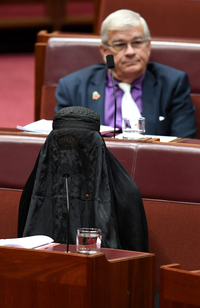One Nation Senator Pauline Hanson is seen wearing a burqa during Senate Question Time. Picture: AAP