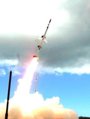 A HIFiRE test rocket launches at Woomera in 2012.