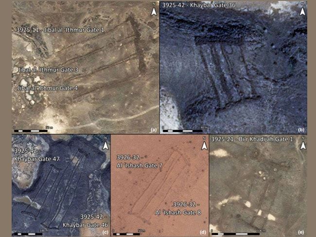 A selection of the 'gates' identified in the Harrat Khaybar region of Saudi Arabia. Pictures: D. Kennedy, Arabian Archaeology and Epigraphy