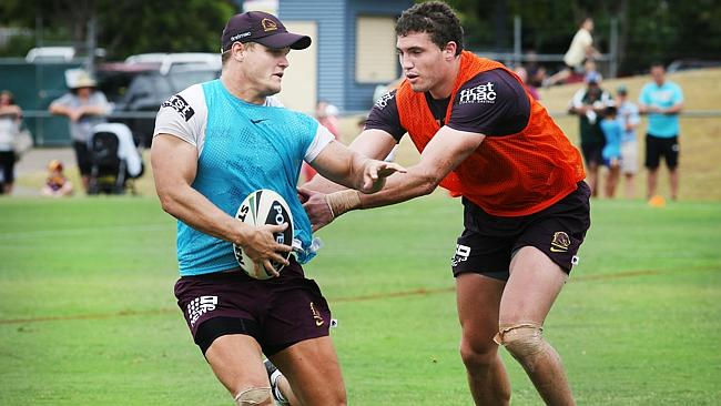 Dale Copley and Corey Oates during Broncos training in front of fans at Ipswich Brothers Leagues Club. Pics Tara Croser.
