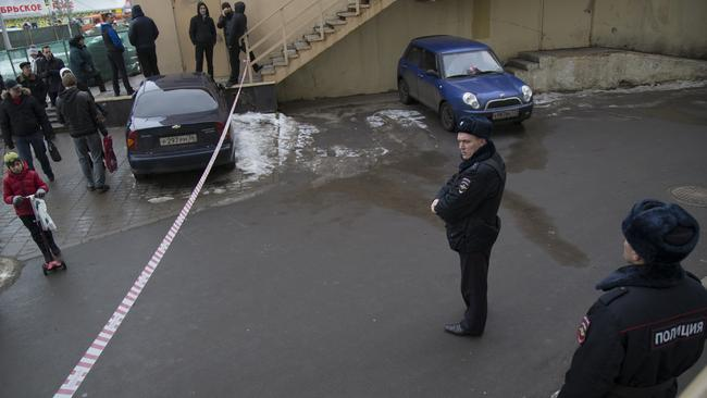 Russian police officers secure the area near a subway station in Moscow on Monday, Feb. 29, 2016. Picture: Alexander Zemlianichenko