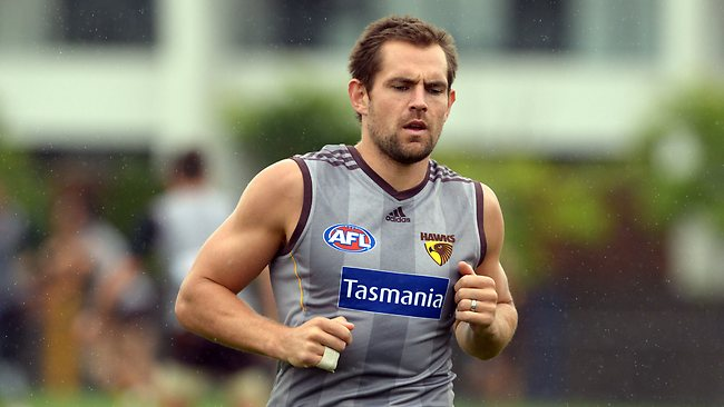 Strauggling Hawthorn captain Luke Hodge yesterday. Picture: Wayne Ludbey