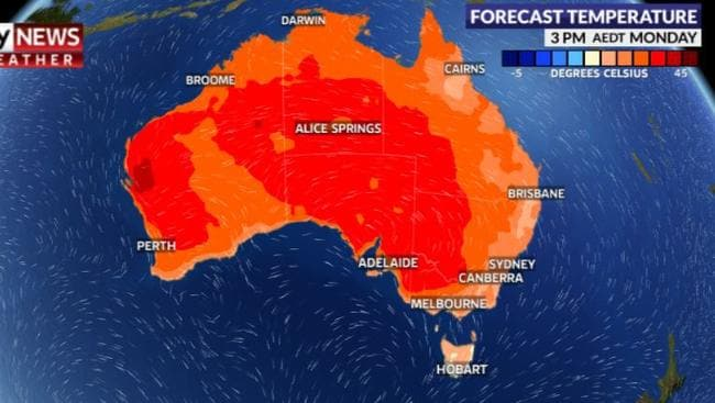 The heat on Monday will be concentrated in South Australia. Picture: Sky News Weather