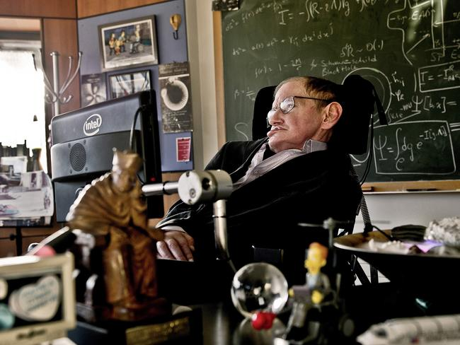 Professor Stephen Hawking sits in his office at the University of Cambridge in 2012
