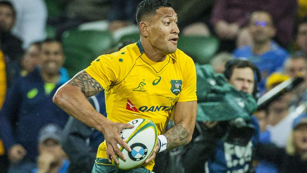 Israel Folau for the Wallabies during the Rugby Championship match between the Australian Wallabies and the South African Springboks at NIB Stadium in Perth, Saturday, September 9, 2017. (AAP Image/Tony McDonough) NO ARCHIVING, EDITORIAL USE ONLY