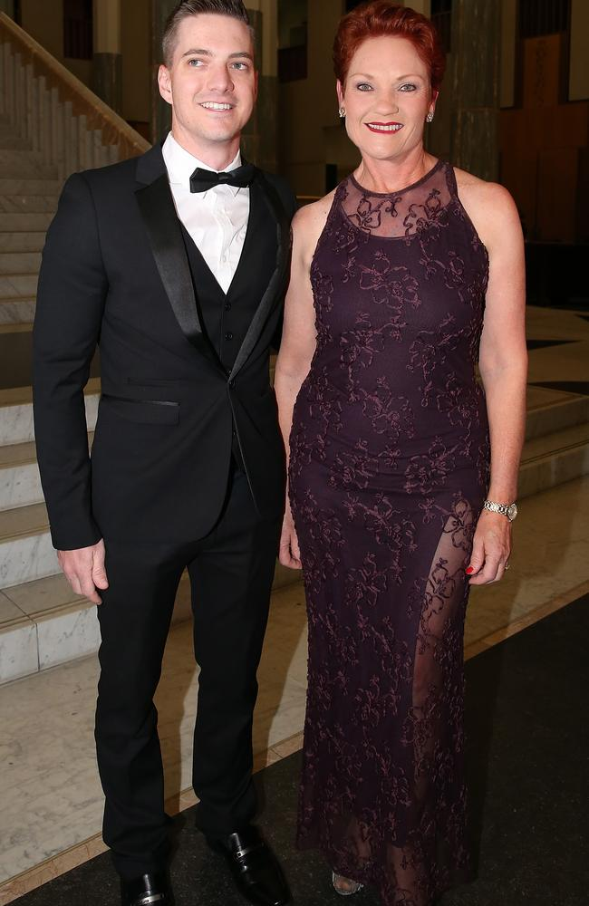 Senator Pauline Hanson arriving at the Federal Parliament Midwinter Ball. Picture Ray Strange