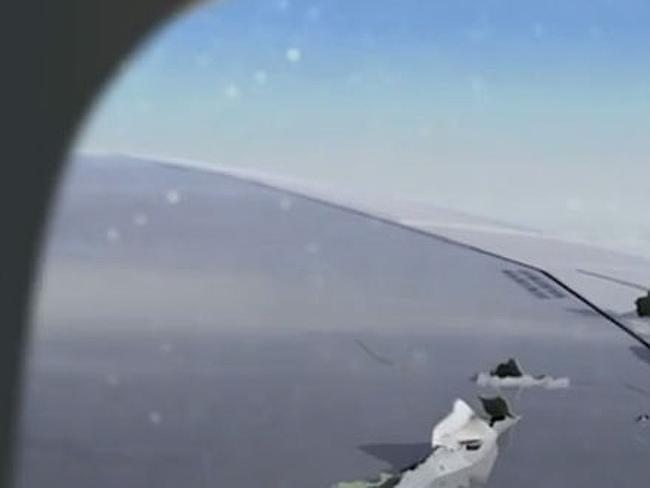 Passengers could see damage to the plane's wing after the engine exploded. Picture: Scree