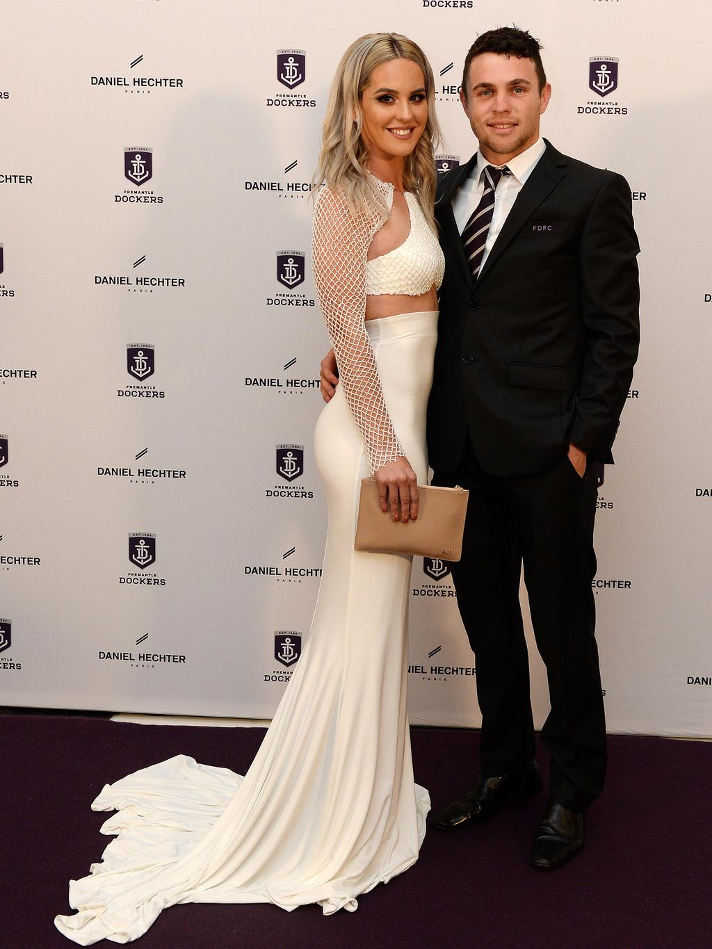 Hayden Ballantyne and Alyssa Hennessy at the Fremantle Football Club's 2016 Doig Medal Presentation Dinner at the Grand Ballroom at Crown Perth. Picture: Daniel Wilkins.