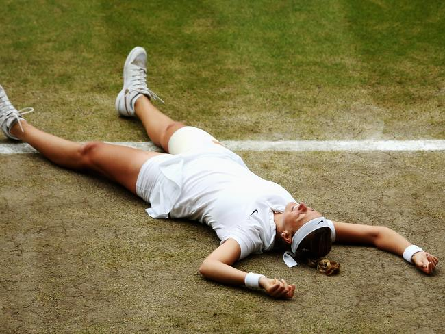 Petra Kvitova of the Czech Republic celebrates championship point during the Wimbledon final.