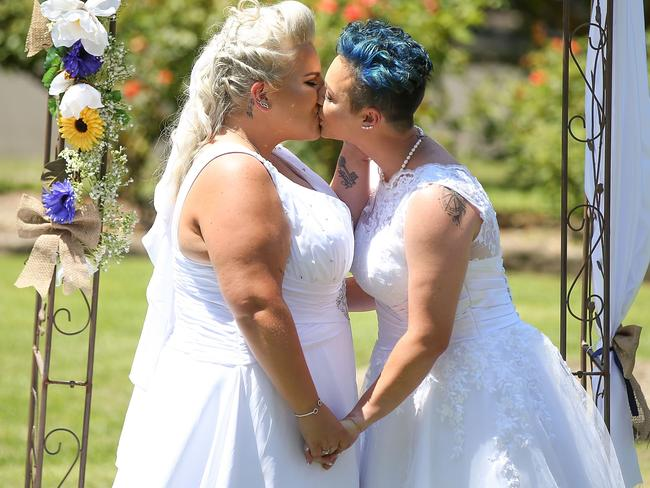The couples celebrated their dream weddings on a historic day for Australia. Picture: Caroline McCredie/Getty Images