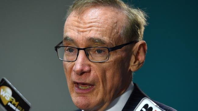 Former NSW Premier and foreign minister Bob Carr speaks to the media in Sydney on Tuesday. Picture: AAP Image/Dan Himbrechts