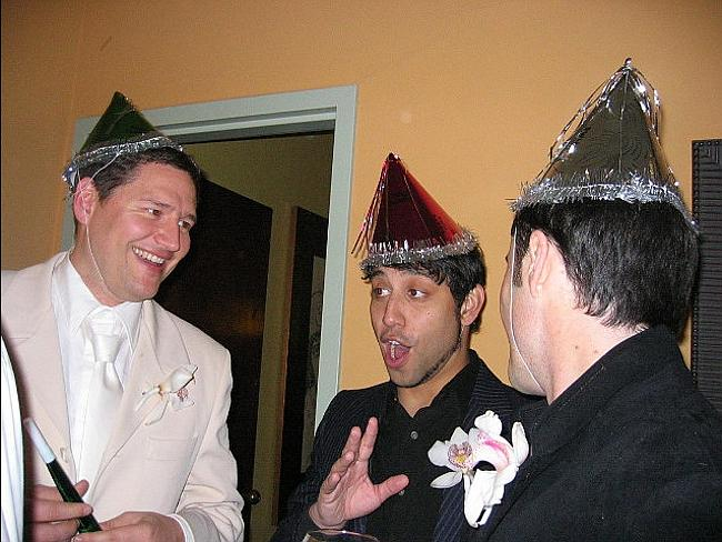 Celebration ... The tech friends partied together in 2004. Picture: Jeff Rayner / Coleman