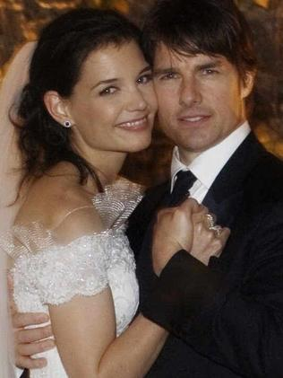 Wedding day ... Tom Cruise and Katie Holmes pose for their official wedding portrait in 2006. Picture: Supplied