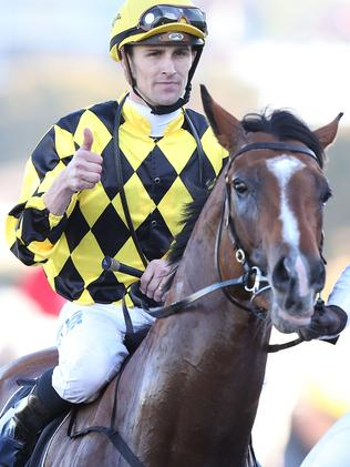 Tye Angland after winning aboard Scissor Kick. Picture: Getty Images