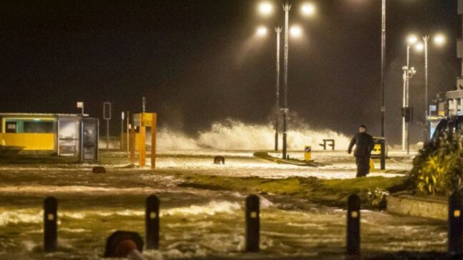 The supermoon caused tidal surges like this in northwestern Ireland. Picture: @GalwayCityCo