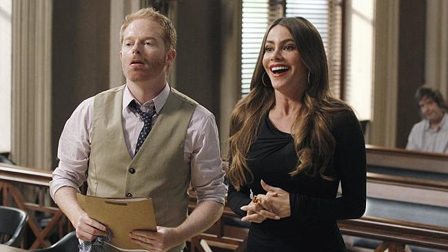 "Jesse Tyler Ferguson, left, and Sofia Vergara in a scene from ""Modern Family."""