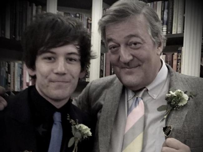 Stephen Fry and husband Elliott Spencer. Picture: Supplied
