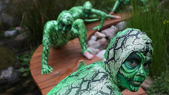 Contortionist performance lizards at the Trailfinders Australian Garden presented by Fleming's at the Chelsea Flower Show at Royal Hospital Chelsea on May 20, 2013 in London, England. Picture: Getty Images