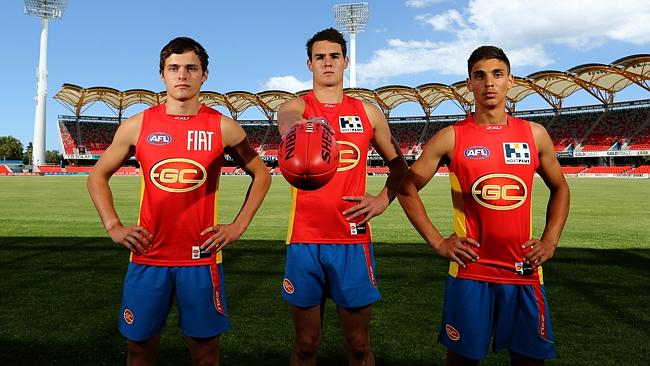 Gold Coast recruits Kade Kolodjashnij, Jack Leslie and Sean Lemmens will be looking to make their mark in 2014. Picture: Davi...