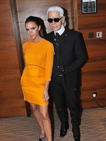 Guest speaker Victoria Beckham and Designer Karl Lagerfeld in London in 2010. Picture: Getty