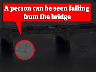 London Terror attack - moment person falls into Thames river. Picture: BBC