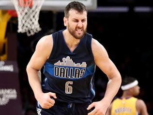 LOS ANGELES, CA - NOVEMBER 08: Andrew Bogut #6 of the Dallas Mavericks reacts to scoring during the second half of a game against the Los Angeles Lakers at Staples Center on November 8, 2016 in Los Angeles, California.NOTE TO USER: User expressly acknowledges and agrees that, by downloading and or using this photograph, User is consenting to the terms and conditions of the Getty Images License Agreement. (Photo by Sean M. Haffey/Getty Images)