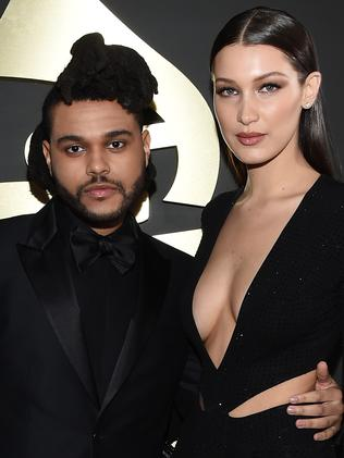 Dating ... Recording artist The Weeknd (L) and girlfriend Bella Hadid attend the Grammys. Picture: Getty