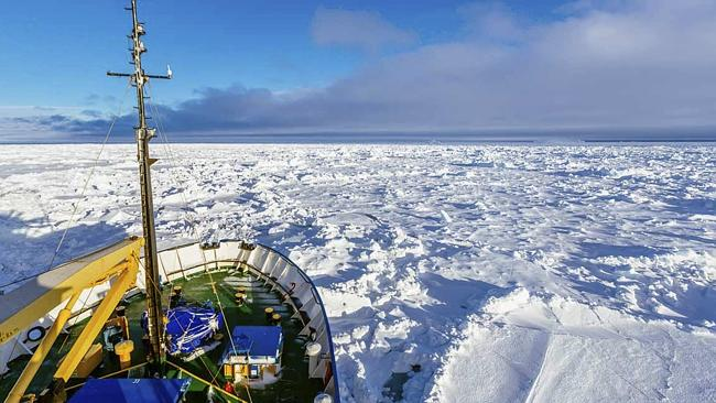 The Aurora Australis icebreaker is hoping to reach the trapped Russian ship MV Akademik Shokalskiy and its 74 passengers by 11pm AEDT Sunday night: Picture: Australasian Antarctic Expedition/Footloose Fotography, Andrew Peacock/AP