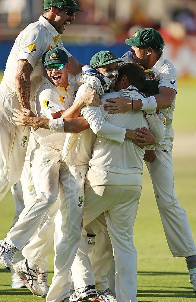 Celebrate: Australian players were jubilant. Picture: Getty Images