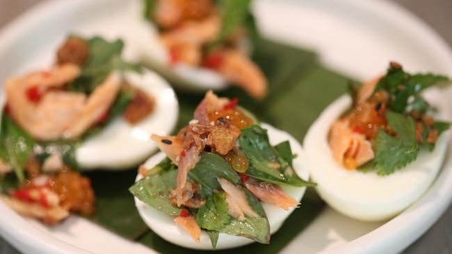 The devilled eggs with smoked trout from Pete Evans' Asana Capri ...