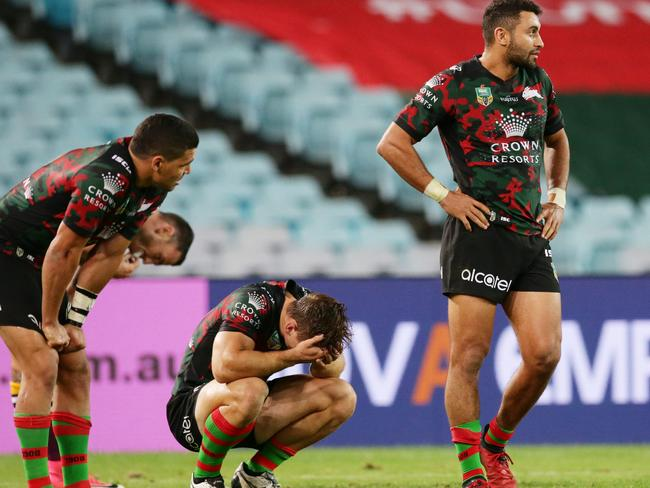 Dejected Souths players after their loss to the Broncos. pic Mark Evans
