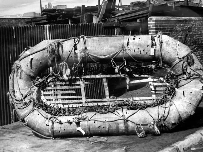 Few signs ... a Carley float life raft from HMAS Sydney which washed up on the coast of Western Australia.