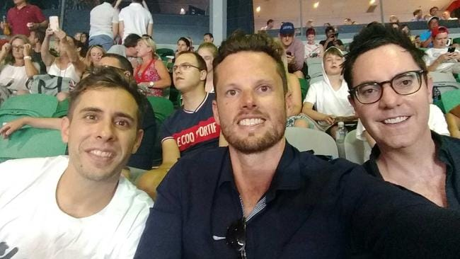 From left to right, app developer Julien Lamy, Matt Scully and Adrian Gale at the Australian Open last month.