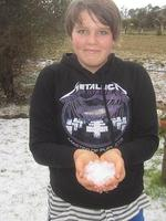 Hail held by Enya Hetherington, 13, of Ramsay on the southern Downs.
