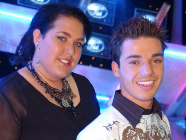 The way they were ... former Australian Idol winner Casey Donovan and finalist Anthony Callea.