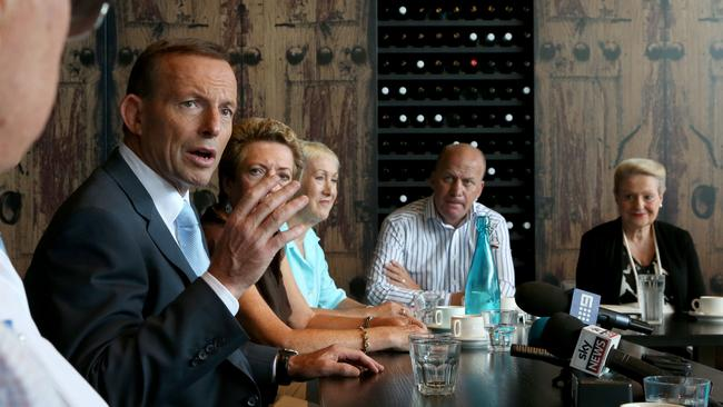 Consult ... Abbott holds a roundtable discussion concerning superannuation at the Dee Why RSL Club