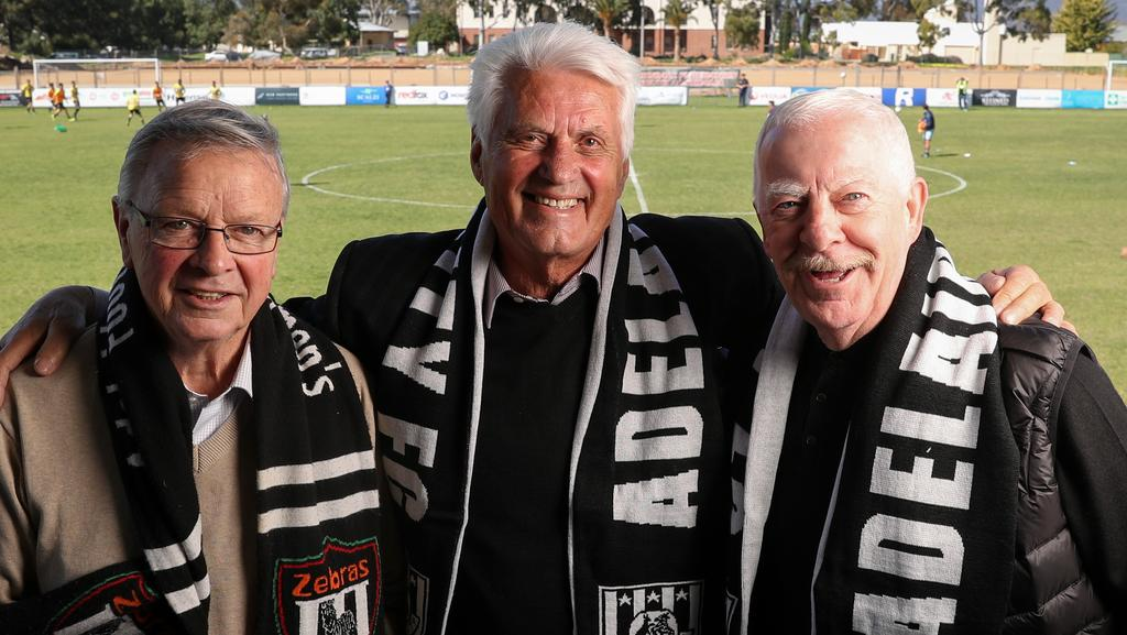Former FIFA referee Donald Campbell, ex-Adelaide City and Socceroos coach Rale Rasic and John 'Dixie' Deans at Adelaide City's Oakden headquarters. Picture: Matt Turner