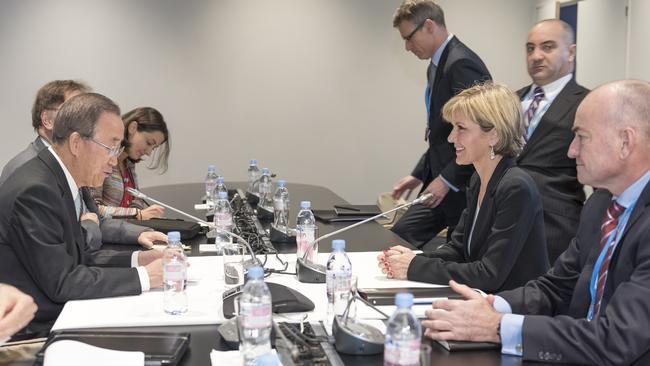 Climate summit ... Foreign Minister Julie Bishop and UN Secretary General Ban Ki-moon at the COP 21 in Paris on Friday. Picture: Supplied.